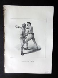 Badminton Library 1889 Boxing Print. The Side Step